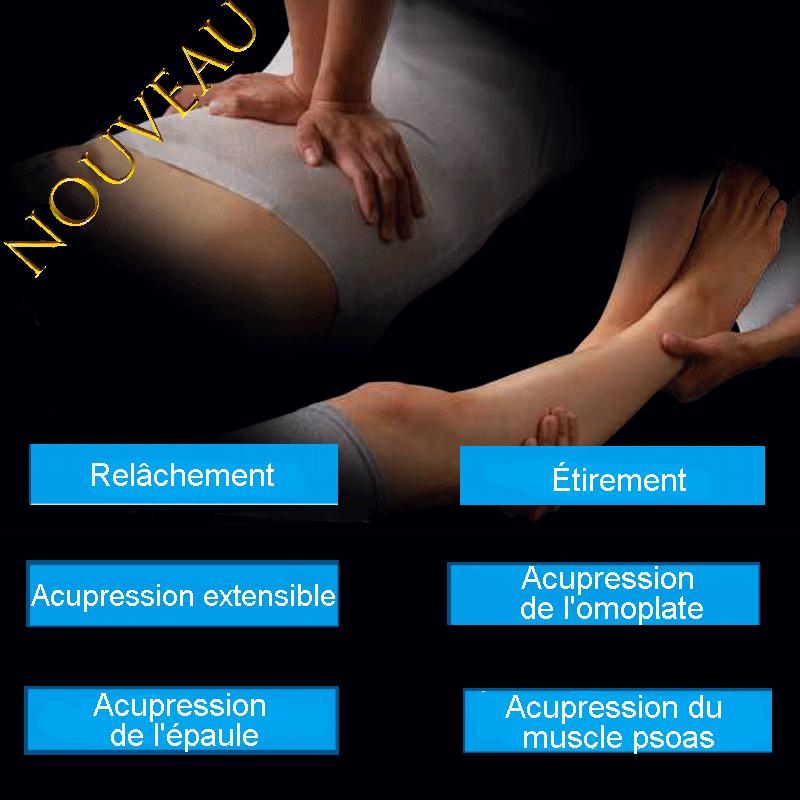 Ajout de 6 types de techniques de massage, dont le pétrissage.