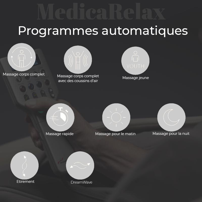 Programmes automatiques du fauteuil de massage Inada Dreamwave